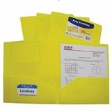 C-Line Folder, Poly, 2 Pocket, 3 Hole, Yellow