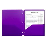 Folder, Poly, 2 Pocket, 3 Hole, Purple